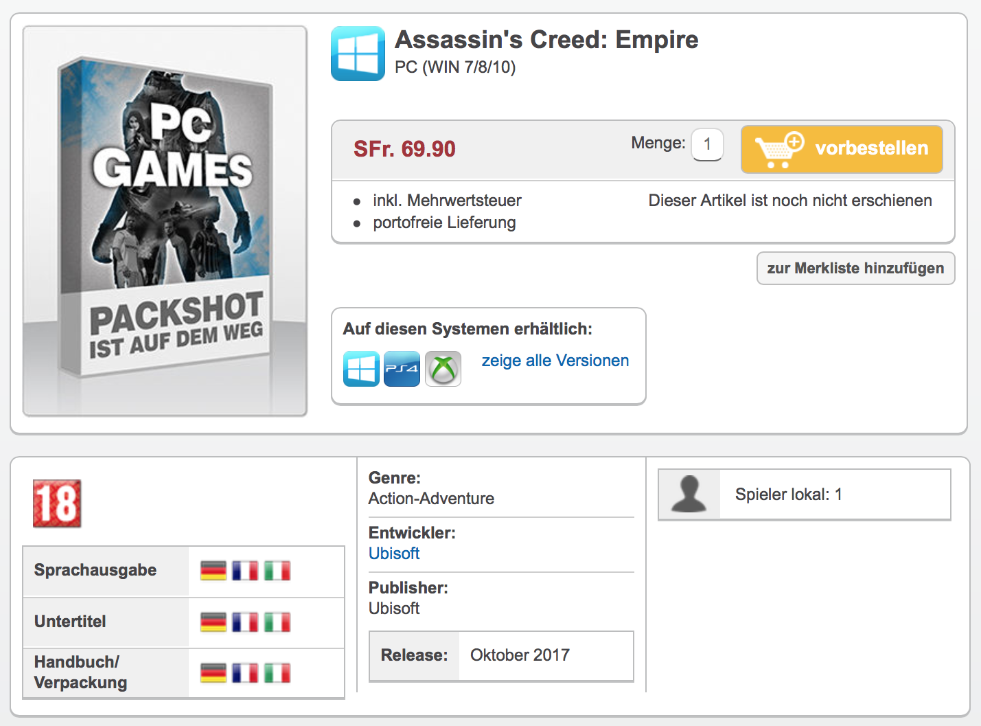 The Codex – Assassin's Creed: Empire Unofficial Pre-order Listing